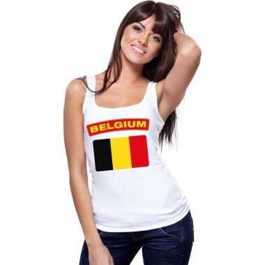 Belgische vlag singlet wit dames