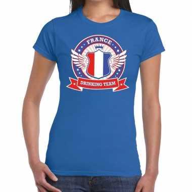 Blauw france drinking team t-shirt dames