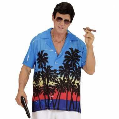 Blauwe maffiabaas verkleed blouse met palmboomprint voor heren