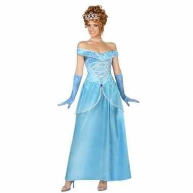 Blauwe prinsessen verkleed jurk voor dames