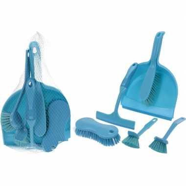 Blauwe schoonmaak set 6-delig