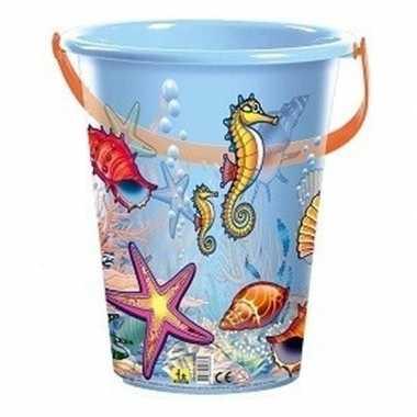 Blauwe speelgoed strandemmer schelpen/zeedieren