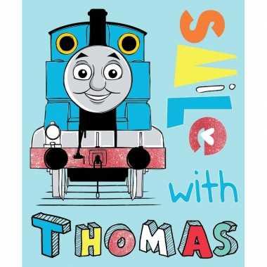 Blauwe thomas de trein fleece deken/plaid voor jongens