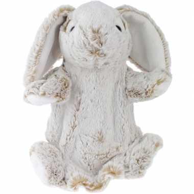 Bosdieren handpoppen knuffels konijn/haas bruin 25 cm