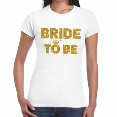 Bride to be glitter tekst t-shirt wit dames