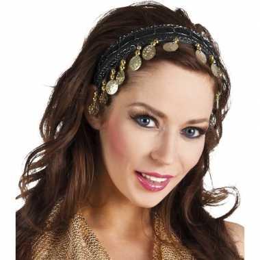 Buikdanseres hoofdband/diadeem zwart dames verkleedaccessoire