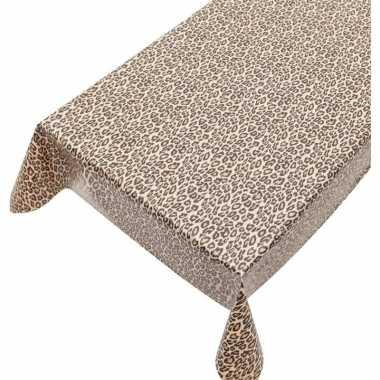 Buiten tafelkleed/tafelzeil bruin luipaard print 140 x 240 cm