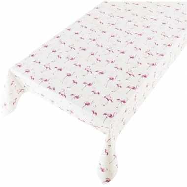 Buiten tafelkleed/tafelzeil wit/roze flamingo print 140 x 240 cm
