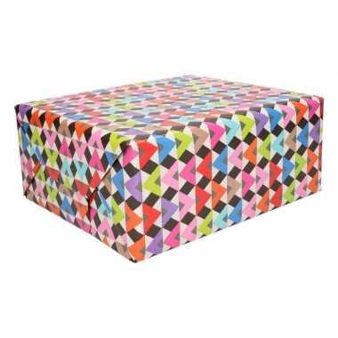 Cadeaupapier gekleurde dakjes print