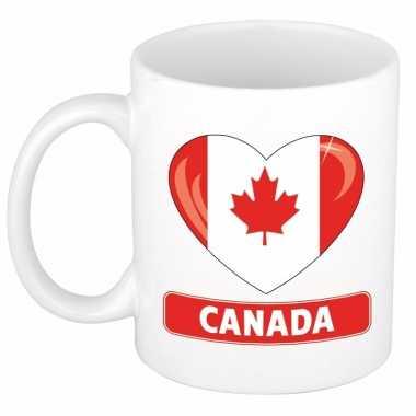 Canadese vlag hartje koffiemok 300 ml