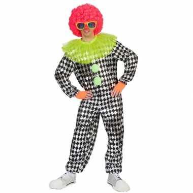 Carnaval clown outfit zwart/zilver voor heren