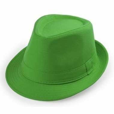 Carnaval maffia hoedje groen voor volwassenen