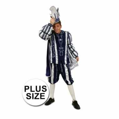 Carnavalkostuum prins blauw/wit grote maat