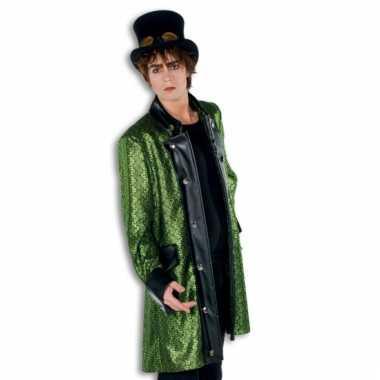 Carnavalskleding groene heren jas