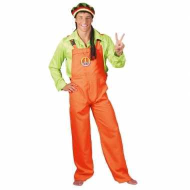 Carnavalskleding neon oranje tuinbroek voor volwassenen