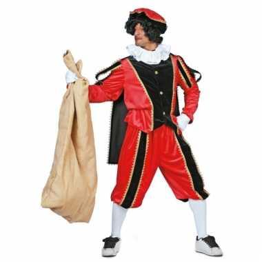 Carnavalskostuum rood/zwarte pieten kostuum fluweel