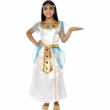 Carnavalskostuum wit met blauw cleopatra