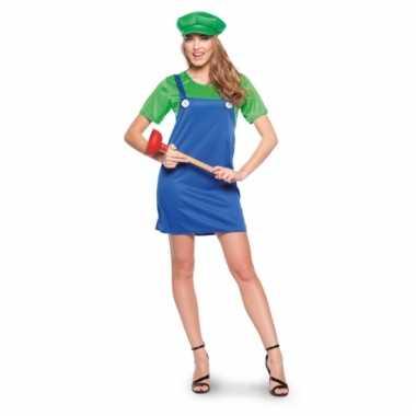 Cartoon groene loodgieter verkleedoutfit voor dames