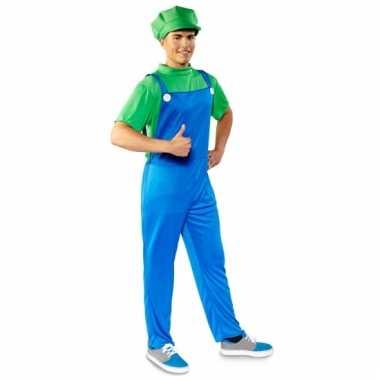 Cartoon groene loodgieter verkleedoutfit voor heren