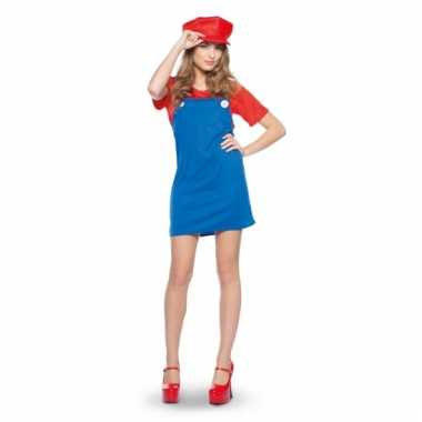 Cartoon rode loodgieter verkleedoutfit voor dames