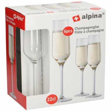 Champagneglas / glazen 18x stuks 22 centiliter