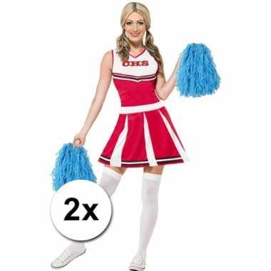 Cheerleader pompoms blauw 2x