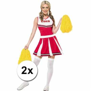 Cheerleader pompoms geel 2x