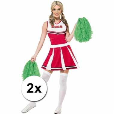 Cheerleader pompoms groen 2x