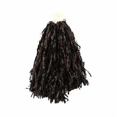 Cheerleader pompoms zwart 28 cm