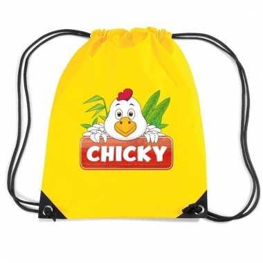 Chicky de kip rugtas / gymtas geel voor kinderen