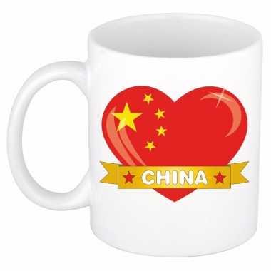 Chinese vlag hartje koffiemok 300 ml