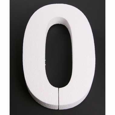 Cijfer 0 wit piepschuim