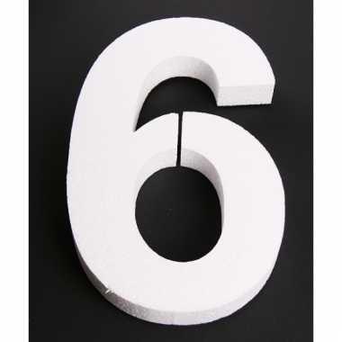 Cijfer 6 wit piepschuim