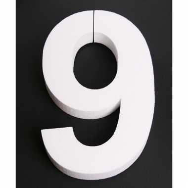 Cijfer 9 wit piepschuim