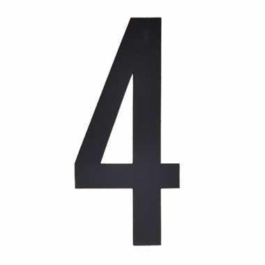 Cijfer sticker 4 zwart 10 cm