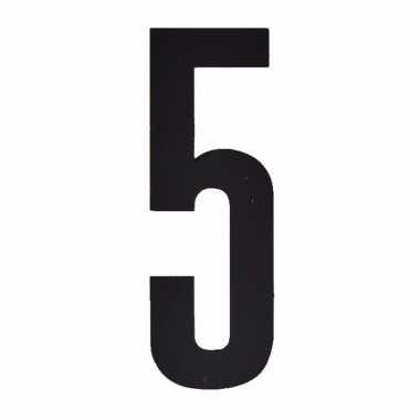 Cijfer sticker 5 zwart 10 cm