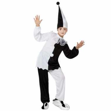 Clown kostuum zwart/witte pierrot