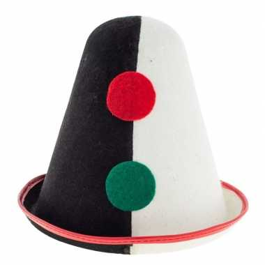 Clowns verkleed hoedje pierrot zwart/wit voor volwassen