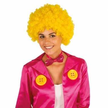 Clownspruik met gele krulletjes verkleed accessoire