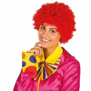 Clownspruik met rode krulletjes verkleed accessoire
