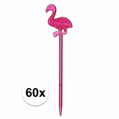 Cocktail prikkers met flamingo 60x 8 cm