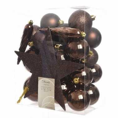 Complete kerstboomversiering bruin