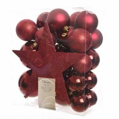 Complete kerstboomversiering rood