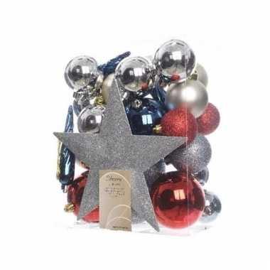 Complete kerstboomversiering zilver/rood/blauw