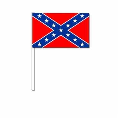 Confederatie amerika zwaai vlaggetjes 12 x 24 cm