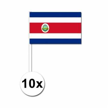 Costa rica zwaai vlaggetjes 10 stuks