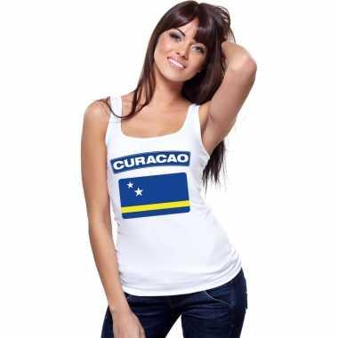 Curacao vlag singlet wit dames