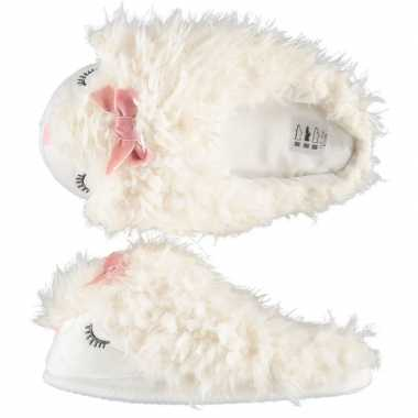 Dames lama/alpaca instap sloffen/pantoffels wit