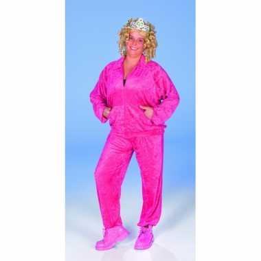 Dames pak met fluweel look fel roze