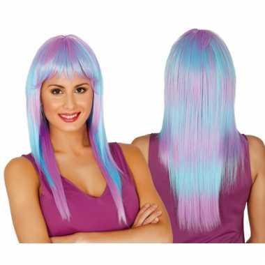 Dames pruik lang haar paars/blauw